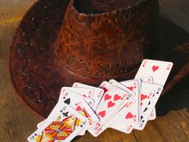 Poker cards and cowboy hat Royalty Free Stock Photography