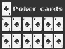Poker cards, deck of cards, cards club suit. Isolated playing card. Vector Royalty Free Stock Images