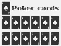 Poker cards, deck of cards, cards club suit.  playing ca Royalty Free Stock Photo