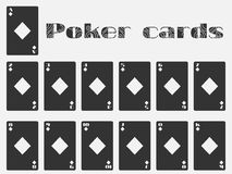 Poker cards, deck of cards, cards diamonds suit. Isolated playing card. Vector illustration stock illustration