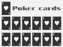 Poker cards, deck of cards, cards hearts suit. Isolated playing card. Stock Image