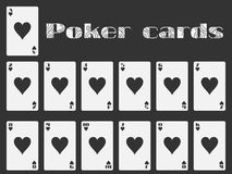Poker cards, deck of cards, cards hearts suit.  playing card. Vector Stock Image