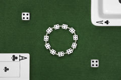 Poker cards, dice and ashtray Royalty Free Stock Photography