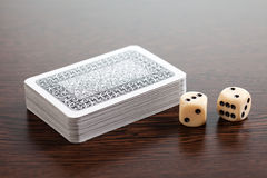 Poker cards and dices Stock Photography
