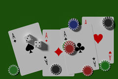Poker cards dices and casino chips Stock Photo