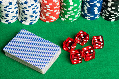 Poker cards dices and chips Royalty Free Stock Photos