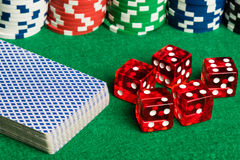 Poker cards dices and chips Royalty Free Stock Images