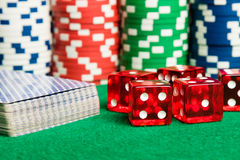 Poker cards dices and chips stock image