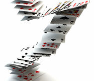 Poker cards falling Stock Photography