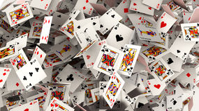 Poker cards falling Royalty Free Stock Photos