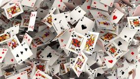 Poker cards falling Royalty Free Stock Photos