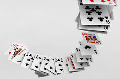 Poker cards falling Stock Images
