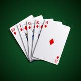 Poker cards flush diamonds hand Royalty Free Stock Photography
