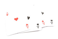 Poker Cards - Four Aces. Isolated on white background stock photography