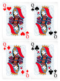 Poker cards. Four different poker cards with classic design stock illustration