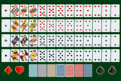 Poker cards full set with isolated cards on green background.  stock illustration