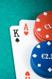 Poker cards and gambling chips on green table Royalty Free Stock Photos