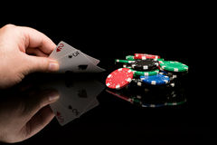 Poker cards with hand Stock Image