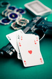 Poker cards and handgun Royalty Free Stock Images