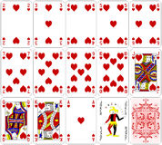 Poker cards heart set four color classic design  Royalty Free Stock Image