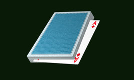 Poker cards. Illustration  in greenbackground Stock Photo