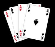 Poker cards. Illustration isolated in blackbackground Stock Image