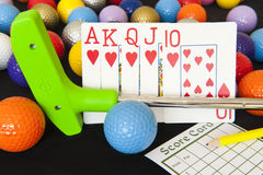 Poker Cards and Mini Golf Royalty Free Stock Photo