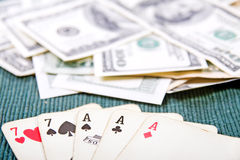 Poker cards with money Stock Photo