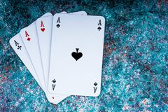 Poker cards on old background royalty free stock photo