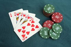 Poker cards and chips. Poker game. Stock Photos