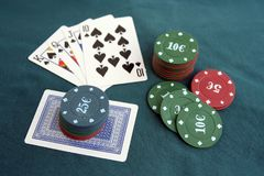 Poker cards and chips. Poker game. Stock Photography