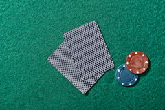 Poker cards on a poker table Stock Image