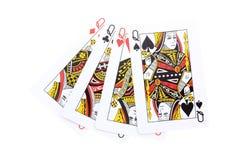 Poker cards Queens Arkivfoto