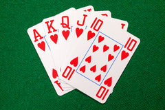 Poker cards with royal flush combination Royalty Free Stock Photography