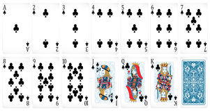Poker cards. Set of clubs vector illustration