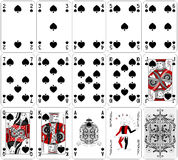 Poker cards spade set two color classic design. Set Royalty Free Stock Photography