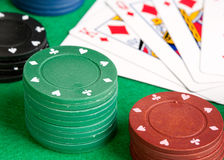 Poker cards and stacked chips Royalty Free Stock Photography