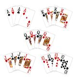 Poker Cards and Suits. Sets of playing cards in different suits Royalty Free Stock Photos