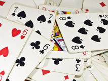 Poker cards. On a table Royalty Free Stock Photo