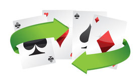 Poker cards and turning arrows Stock Images