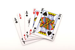 Poker cards on white background Royalty Free Stock Images