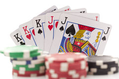 Poker cards on white background Stock Images