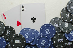 Poker cards. Wining cards with some coins Royalty Free Stock Images