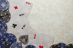 Poker cards. Wining cards with some coins Royalty Free Stock Photo
