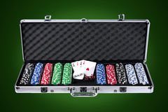 Poker case with chips and cards with path Stock Photos