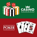 Poker casino banner fortune gambling club. Vector illustration Royalty Free Stock Images