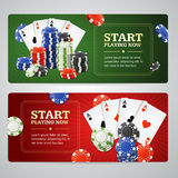 Poker Casino Banner Set. Vector Stock Photos