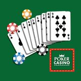 Poker casino billboard poster cards and chips fortune gamble. Vector illustration Stock Image