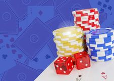 Poker casino chips and dice and cards Stock Images