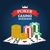 Poker casino club entertainment playing money chip and cards Royalty Free Stock Photo